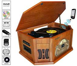 8-in-1 Boytone BT-25WB Natural Wood Classic Turntable Stereo