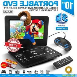 "10"" Black Portable EVD TFT TV DVD Player 270° Swivel LCD Ga"