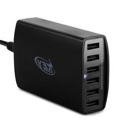 Key Power 60 Watt 12A 6-Port USB Charger Charging Station fo