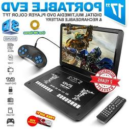 "17.1"" Black Portable EVD TFT TV DVD Player LCD USB SD CD FM"