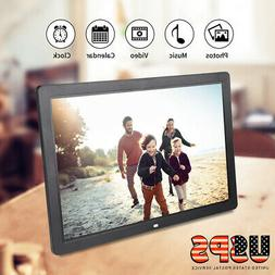 "17"" HD Digital Photo Picture Frame Clock Alarm Player Album"