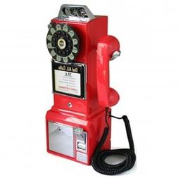 1950 Retro Classic Pay Phone Telephone- Red