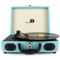1byone Belt-Drive 3-Speed Portable Stereo Turntable with Bui