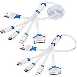 Vastar 2 Packs 3.3 Feet &1 Feet Premium 4-in-1 Multiple USB