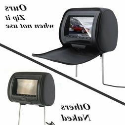 """2 PCS Black  7"""" Car Headrest  HD Monitors w/DVD Player/USB/+"""