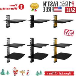 2 Tier Dual Glass Shelf Wall Mount for DVD Players/ Cable Bo