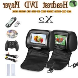 2×7'' TFT LCD Car Headrest Monitor Remote DVD Player USB SD