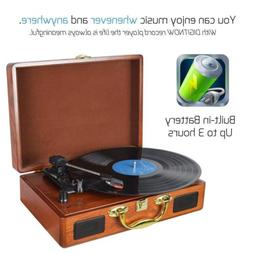 3-Speed Briefcase Record Player Suitcase Vinyl Turntable wit