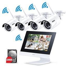 """ZOSI 4CH All-in-One 960P WiFi NVR with 10"""" LCD Monitor Wir"""