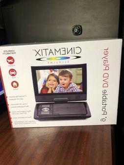 "5 Hour Cinematix 9"" Portable DVD Player BLack Swivel Screen"