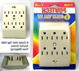 6 outlet 3 prong grounded electric wall tap power adaptor  P