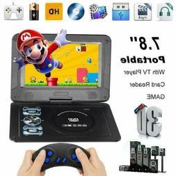 "7.8"" Portable TV DVD CD Player 270° Rotation FM Radio 16:9"