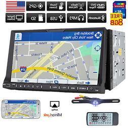 "7"" Double Din InDash GPS Navigation Car DVD Radio Stereo Pla"