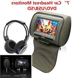 FidgetFidget 7'' Auto Car Headrest Monitor + DVD Player/USB/