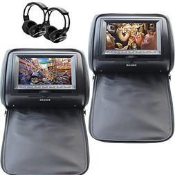 7 Black Car DVD/USB/SD/Headrest Video Player LCD Monitor Dua
