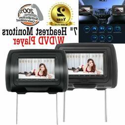 "7"" Black Car Headrest Monitors w/ DVD Player USB/HDMI + Game"