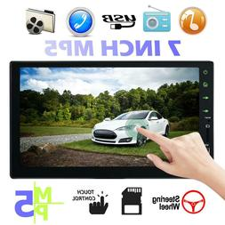 7 Double 1080p 2 DIN Car GPS FM Stereo Radio MP5 Player Touc