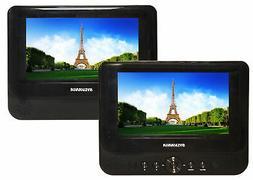 "Sylvania 7"" Portable Dual Screen DVD Player with Remote - SD"