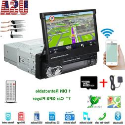 "7"" Single 1Din GPS Flip Car Stereo Radio BT Player Touch Scr"