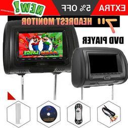 7inch Black Car Headrest Monitors w/DVD Player/USB/HDMI Spea