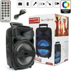 "8"" 1000W Portable FM Bluetooth Speaker Subwoofer Heavy Bass"