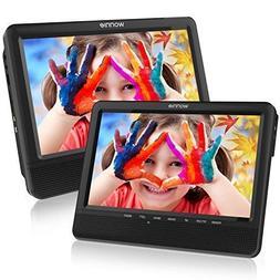 WONNIE 9.5'' Dual Screen DVD Player Portable Car Headrest DV