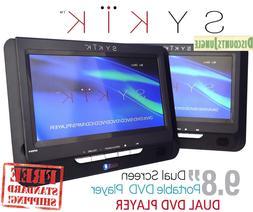 "Sykik 9.8"" Dual screen, dual DVD player. Both W/ built-in"
