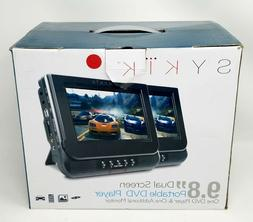 "Sykik 9.8"" Dual screen portable DVD player with built-in r"
