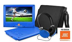 Ematic 9'' inch AUDIO BY JBL Blue Portable DVD Player with M