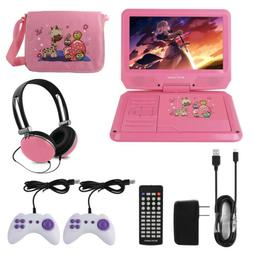 """9"""" Portable DVD Player With Headphones Game Controller Carry"""