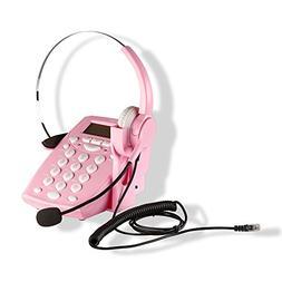 AGPtek Call Center Dialpad Corded Headset Pink Telephone wit