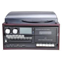 LCD Vinyl Record Player Play CD Cassette MP3 Music w/ 2 Ster