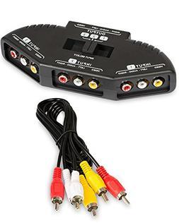 RCA Switch, Fosmon 3-Way RCA Splitter  RCA Audio Video AV Se