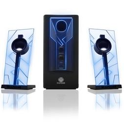 GOgroove BassPULSE 2.1 Computer Speakers with Blue LED Glow