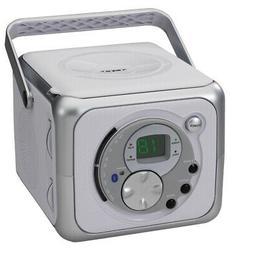 Jensen CD-555 White/Silver CD Bluetooth Boombox Portable Blu