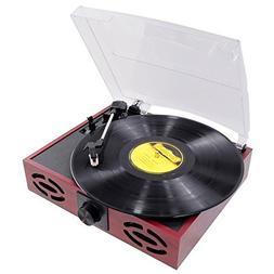 Pyle 3-Speed Stereo Turntable, Classic Vintage Style, Vinyl