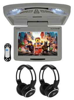 "Rockville RVD12HD-GR 12"" Grey Flip Down Car Monitor DVD/USB/"
