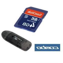 SanDisk 4GB SD Memory Card + Black USB Memory Card Reader fo