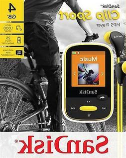 SanDisk Clip Sport 4GB MP3 Player, Yellow With LCD Screen an