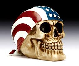 American Flag Skull Bandana Figurine Polyresin Home Decor Bi
