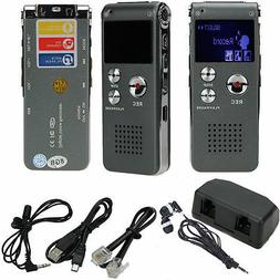 8GB Digital Audio Voice Recorder Rechargeable Dictaphone Tel