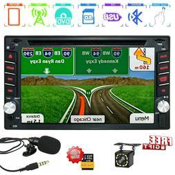 Backup Camera GPS Double 2Din Car Stereo Radio CD DVD Player