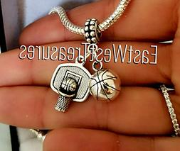 Basketball Player hoop Charm Bracelet necklace Jewelry Gift