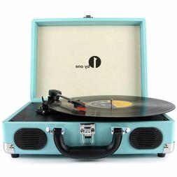Belt-Drive 3-Speed Portable Stereo Turntable with Built in S