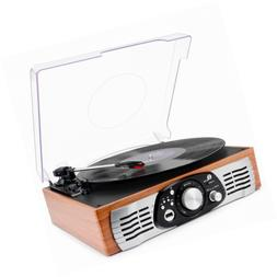 1byone Belt-Drive 3-Speed Stereo Turntable with Built in Spe