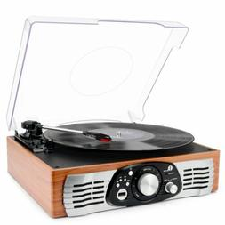 1byone Belt Drive 3 Speed Stereo Turntable with Built in Spe