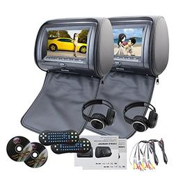 EinCar Black 2 PCS Car Headrest Dual DVD Player 7 HD display
