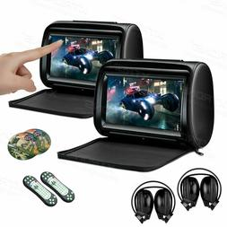 "Black 9"" Pair Car Pillow Headrest DVD Player IR Headphones G"