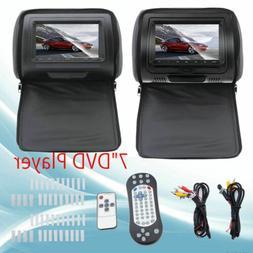 "Black Touchscreen 7"" Car Headrest Monitors w/DVD Player/USB/"