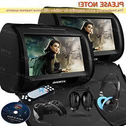 """XTRONS Black 2X Twin Car headrest DVD player 9"""" HD Touch Scr"""